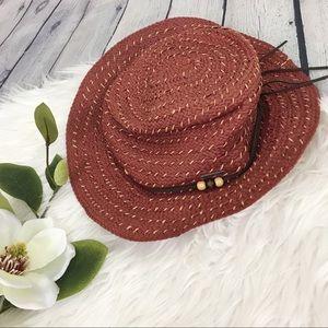 Roxy Floppy Straw Hat Red Brown Tie & Bead Detail